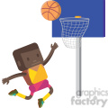 basketball african american player illustration