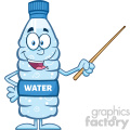 royalty free rf clipart illustration talking water plastic bottle cartoon mascot character using a pointer stick vector illustration isolated on white