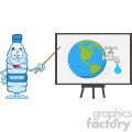 water plastic bottle cartoon mascot character using a pointer stick by a board with earth globe with water faucet and drop vector illustration isolated on white
