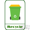 royalty free rf clipart illustration green recycle bin modern flat label design with text recycle illustration isolated on white background gif, png, jpg, eps, svg, pdf