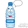 royalty free rf clipart illustration smiling water plastic bottle cartoon mascot character speech bubble vector illustration isolated on white