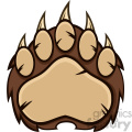 royalty free rf clipart illustration brown bear paw with claws vector illustration isolated on white
