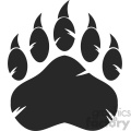 royalty free rf clipart illustration black bear paw with claws vector illustration isolated on white background