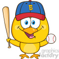royalty free rf clipart illustration yellow chick cartoon character holding a baseball and bat vector illustration isolated on white