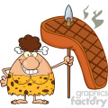 smiling brunette cave woman cartoon mascot character holding a spear with big grilled steak vector illustration gif, png, jpg, eps, svg, pdf