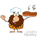 chef male caveman cartoon mascot character holding up a platter with big grilled steak and gesturing ok vector illustration gif, png, jpg, eps, svg, pdf
