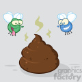 royalty free rf clipart illustration two flies hovering over pile of smelly poop cartoon characters vector illustration with backgrond