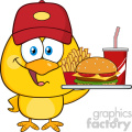 royalty free rf clipart illustration happy yellow chick cartoon character wearing a baseball cap and holding a fast food tray vector illustration isolated on white gif, png, jpg, eps, svg, pdf