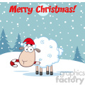 royalty free rf clipart illustration christmas sheep cartoon character vector illustration greeting card