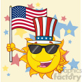royalty free rf clipart illustration cute sun cartoon mascot character with patriotic hat holding an american flag vector illustration background with stars