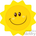 royalty free rf clipart illustration smiling sun cartoon mascot character simple flat design vector illustration isolated on white background