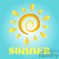 royalty free rf clipart illustration abstract sun in gradient with heart and text summer vector illustration with background