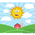 royalty free rf clipart illustration sunshine happy sun mascot cartoon character vector illustration with farm barn and silo fields background
