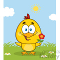 royalty free rf clipart illustration cute yellow chick cartoon character holding a flower vector illustration with bacground