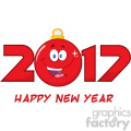 happy 2017 new years eve greeting with christmas ball cartoon character and numbers vector  gif, png, jpg, eps, svg, pdf