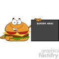 illustration funny burger cartoon mascot character pointing to a sign with text burger menu vector illustration isolated on white background