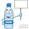 illustration cartoon ilustation of a water plastic bottle mascot character holding up a blank sign vector illustration isolated on white background
