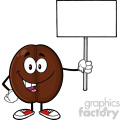 illustration happy coffee bean cartoon mascot character holding a blank sign vector illustration isolated on white