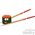 illustration cute sushi roll cartoon mascot character with chopsticks vector illustration isolated on white