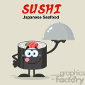 illustration sushi roll cartoon mascot character licking his lips and holding a cloche platter vector illustration flat style poster with background
