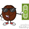 illustration coffee bean cartoon mascot character with sunglasses holding a dollar bill vector illustration isolated on white