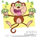 royalty free rf clipart illustration greedy monkey cartoon character jumping with cash money and dollar eyes vector illustration with bacground isolated on white
