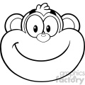 royalty free rf clipart illustration black and white smiling monkey face cartoon character vector illustration isolated on white gif, png, jpg, eps, svg, pdf