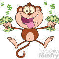 royalty free rf clipart illustration greedy monkey cartoon character jumping with cash money vector illustration isolated on white