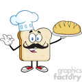 royalty free rf clipart illustration baker bread slice cartoon mascot character with chef hat and mustache holding a bread vector illustration isolated on white gif, png, jpg, eps, svg, pdf