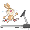 royalty free rf clipart illustration smiling rabbit cartoon character running on a treadmill vector illustration isolated on white