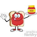 royalty free rf clipart illustration bread slice cartoon character with jam holding a jar of jam vector illustration isolated on white background