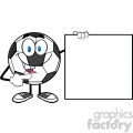 talking soccer ball cartoon mascot character pointing to a blank sign vector illustration isolated on white background