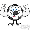 happy soccer ball cartoon mascot character flexing vector illustration isolated on white background  gif, png, jpg, eps, svg, pdf