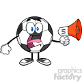 soccer ball cartoon mascot character using a megaphone vector illustration isolated on white background gif, png, jpg, eps, svg, pdf