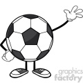 soccer ball faceless cartoon mascot character waving for greeting vector illustration isolated on white background gif, png, jpg, eps, svg, pdf