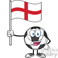 happy soccer ball cartoon mascot character holding a flag of england vector illustration isolated on white background