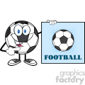 talking soccer ball cartoon mascot character pointing to a sign with text football vector illustration isolated on white background gif, png, jpg, eps, svg, pdf