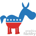 red white and blue democrat donkey vector illustration flat design style isolated on white