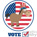 funny democrat donkey cartoon character with uncle sam hat over usa flag label vector illustration flat design style isolated on white