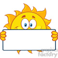 cute sun cartoon mascot character holding a blank sign vector illustration isolated on white background
