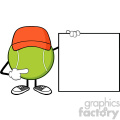 tennis ball faceless cartoon mascot character pointing to a blank sign banner vector illustration isolated on white background gif, png, jpg, eps, svg, pdf
