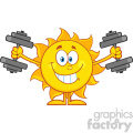 10119 smiling sun cartoon mascot character working out with dumbbells vector illustration isolated on white background