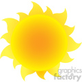 yellow silhouette sun with gradient vector illustration isolated on white background