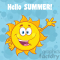 happy sun cartoon mascot character waving for greeting with text hello summer vector illustration with blue background