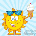 cute sun cartoon mascot character with sunglasses holding a ice cream vector illustration with blue sunburst background