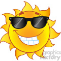 smiling summer sun cartoon mascot character with sunglasses in gradient vector illustration isolated on white background