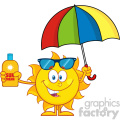 10151 cute sun cartoon mascot character holding a umbrella and bottle of sun block cream vith text vector illustration isolated on white background
