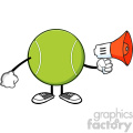 tennis ball faceless cartoon mascot character an announcement into a megaphone vector illustration isolated on white background gif, png, jpg, eps, svg, pdf