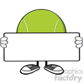 tennis ball faceless cartoon mascot character holding a blank sign vector illustration isolated on white background gif, png, jpg, eps, svg, pdf