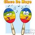 two colorful mexican maracas cartoon mascot characters singing vector illustration isolated on white background with notes and text cinco de mayo